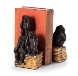 """Hear, Speak & See No Evil"" Monkey Bookends"