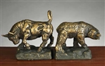 Stock Market Bronzed Metal Bookends
