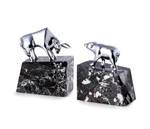 Bull & Bear, Solid Brass, Chrome Plated on Marble Bookends
