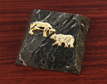 Stock Market Bull and Bear Paperweight - Green Marble