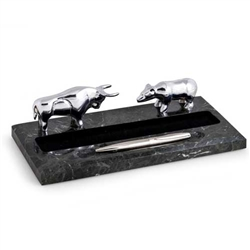 Silver Bull and Bear Pen Holder on Marble