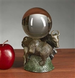 Bull and Bear Crystal Ball Holder Statue - Bronzed Sculpture