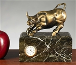 Antique Brass Bull Clock on Green Marble