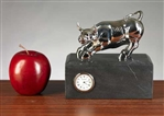 Chrome Plated Brass Wall Street Bull Clock on Black Marble
