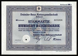 Daimler-Benz WWII German Bond - Mercedes Benz Certificate