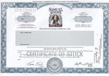 The Boston Beer Company, Inc. (Sam Adams) Specimen Stock Certificate