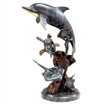 Dolphin and Undersea Friends Statue - Brass on Solid Marble Base