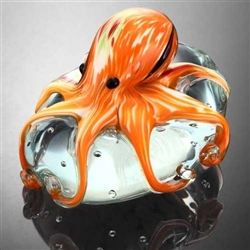 Art Glass Orange Octopus Paperweight