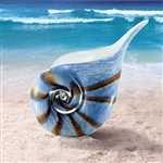 Art Glass Blue Nautilus Shell
