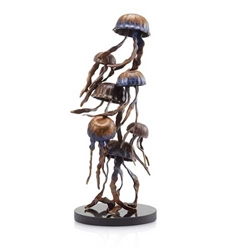 Jellyfish Gathering Sculpture - Brass on Solid Marble Base