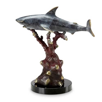 Silent Predator Shark Sculpture - Brass on Solid Marble Base