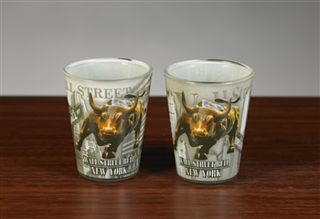 The Wall Street Bull Shot Glass -  Set of 2
