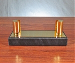 Gold Plated Brass and Black Marble Business Cardholder