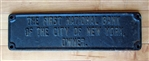 First National Bank of New York Cast Iron Sign