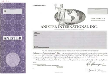 Anixter International Specimen Stock Certificate