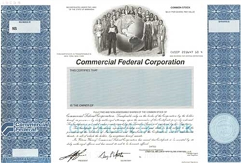 Commercial Federal Corp Specimen Stock Certificate