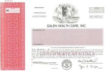Galen Health Care Specimen Stock Certificate