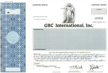 GRC International, Inc. Specimen Stock Certificate