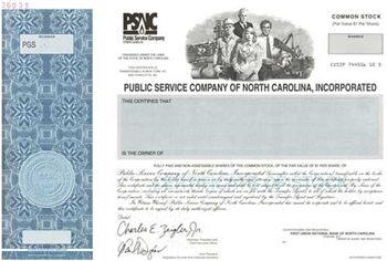 Public Service Company Of North Carolina Specimen Stock Certificate