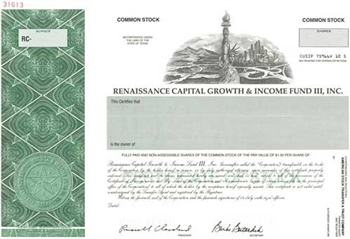 Renaissance Capital Growth & Income Fund III, Inc. Specimen Stock Certificate