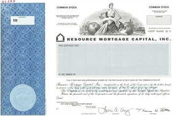 Resource Mortgage Capital Specimen Stock Certificate