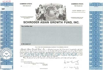 Schroder Asian Growth Fund Specimen Stock Certificate
