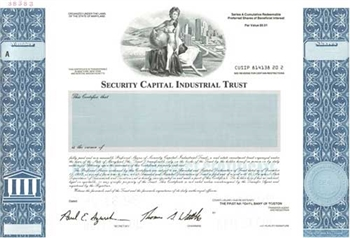 Security Capital Industrial Trust Specimen Stock Certificate
