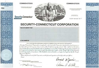 Security-Connecticut Corp Specimen Stock Certificate