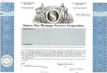 Source One Mortgage Services Corp Specimen Stock Certificate