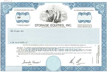 Storage Equities Inc. Specimen Stock Certificate