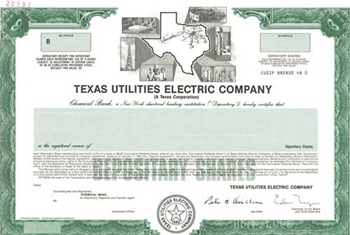 Texas Utilities Electric Co Specimen Stock Certificate