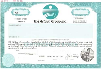 The Actava Group Inc Specimen Stock Certificate