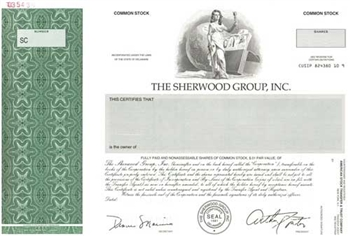 The Sherwood Group, Inc. Specimen Stock Certificate