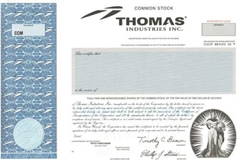 Thomas Industries Inc Specimen Stock Certificate