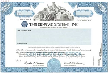 Three-Five Systems Inc Specimen Stock Certificate