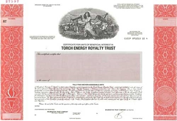Torch Energy Royalty Trust Specimen Stock Certificate