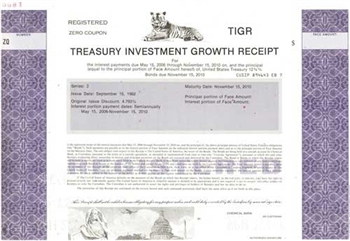 Treasury Investment Growth Receipt  Specimen Stock Certificate