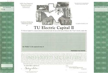 TU Electric Capital II Specimen Stock Certificate