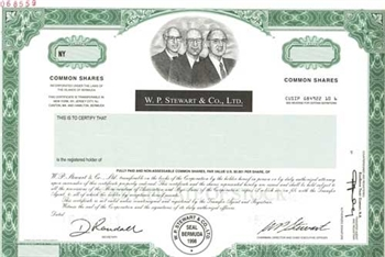 W.P. Stewart & Co., Ltd. Specimen Stock Certificate