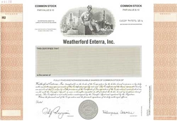 Weatherford Enterra Inc Specimen Stock Certificate