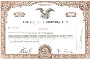 The Circle K Corporation Specimen Stock Certificate - Brown