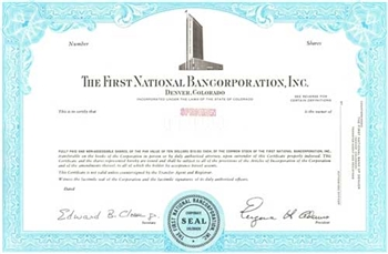 The First National Bancorporation, Inc.  Specimen Stock Certificate - Aqua