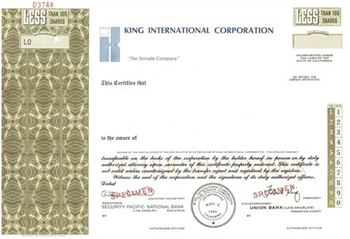 King International Corporation Specimen Stock Certificate - Olive