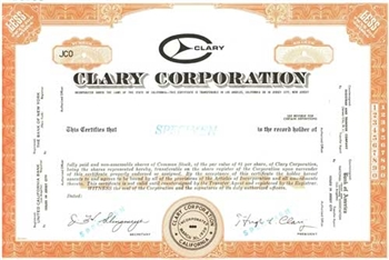 Clary Corporation Specimen Stock Certificate -Orange