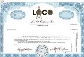 Love Oil Company, Inc. Specimen Stock Certificate - Blue