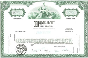 Holly Corporation Specimen Stock Certificate - Green