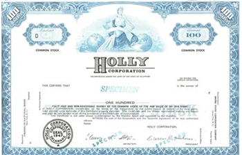 Holly Corporation Specimen Stock Certificate - Blue