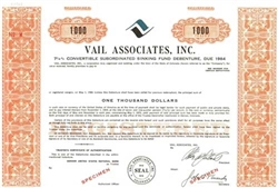 Vail Associates, Inc. Specimen Stock Certificate - Orange