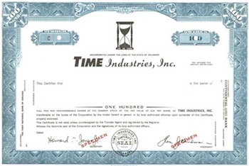 Time Industries, Inc. Specimen Stock Certificate - Blue