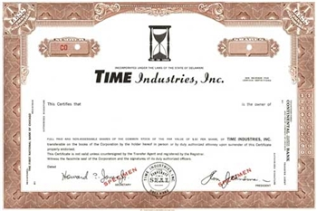 Time Industries, Inc. Specimen Stock Certificate - Brown